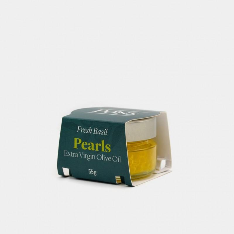 PONS Fresh Basil EVOO Pearls - 55 Gr.